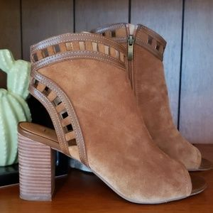 Franco Sarto Suede Cut- out Peep-toe Heel Bootie
